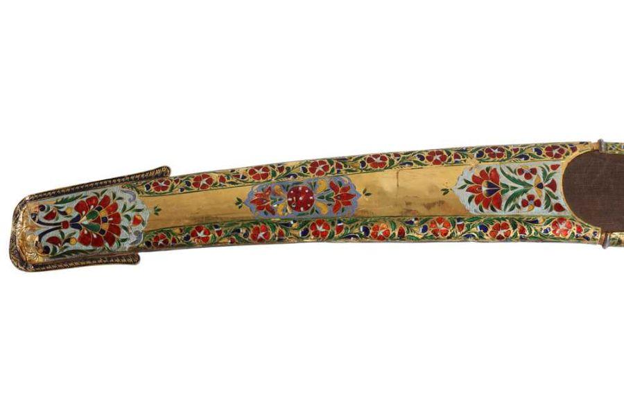 18TH CENTURY GOLD ENAMEL IVORY AND STEEL SHAMSHIR SWORD - Image 5 of 21