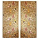 19th Century Pair Of Padded Silkwork Wall hangings