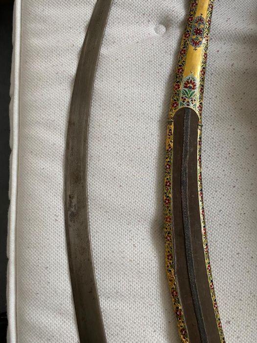 18TH CENTURY GOLD ENAMEL IVORY AND STEEL SHAMSHIR SWORD - Image 19 of 21