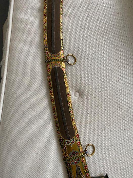 18TH CENTURY GOLD ENAMEL IVORY AND STEEL SHAMSHIR SWORD - Image 10 of 21