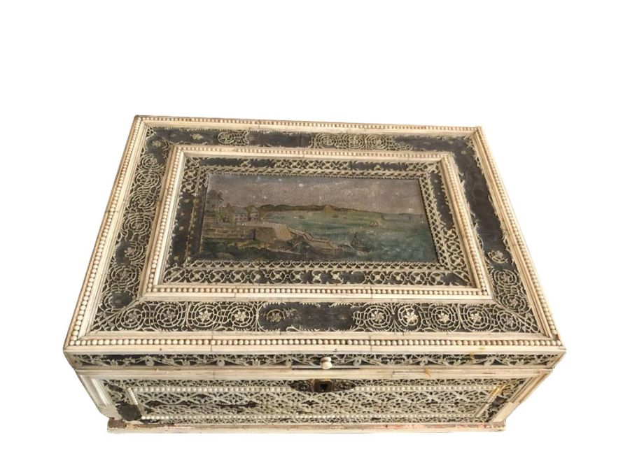 18th Century Russian Walrus Ivory Carved Box With Oil Painting