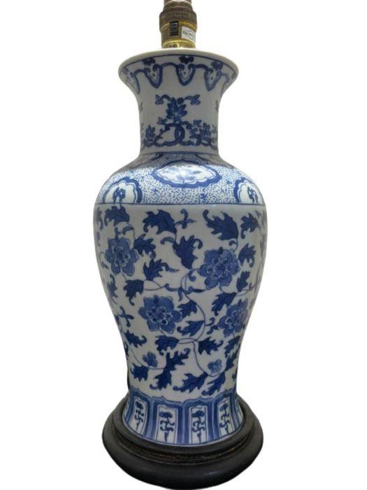 19th/20th Century Chinese Blue & White Vase Lamp