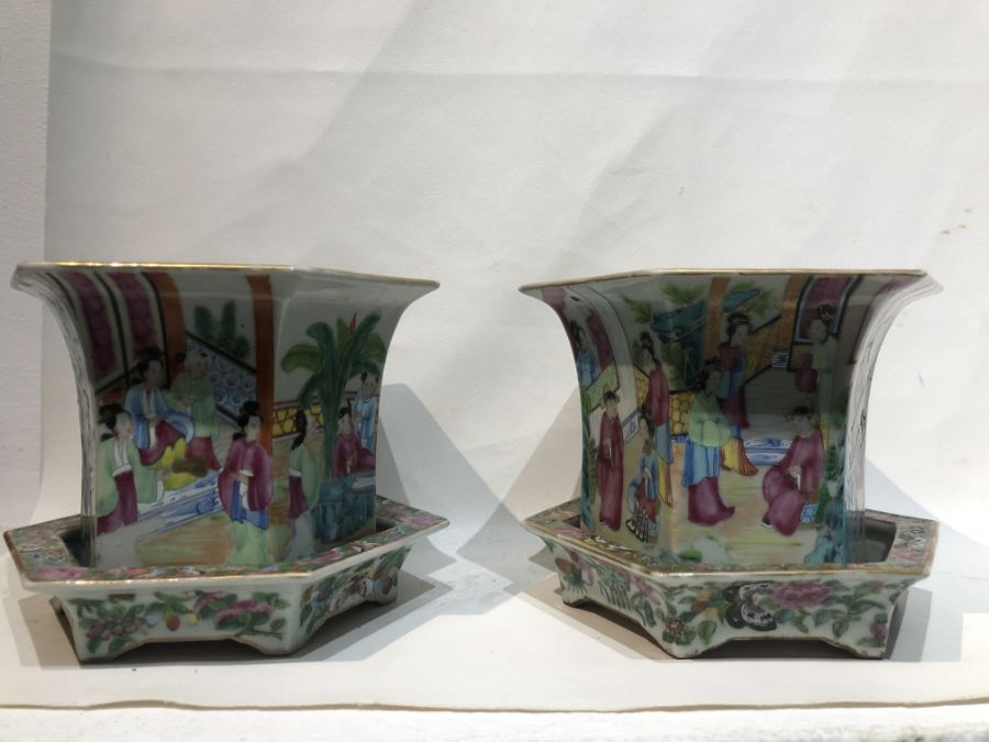 19th Century Pair Of Chinese Famille Rose Panelled Planters - Image 15 of 15