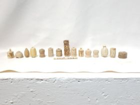 12th Century Assortment of Islamic Ivory Engraved Chess Pieces