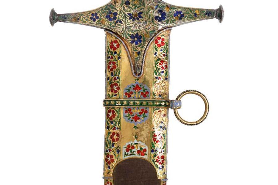 18TH CENTURY GOLD ENAMEL IVORY AND STEEL SHAMSHIR SWORD - Image 6 of 21