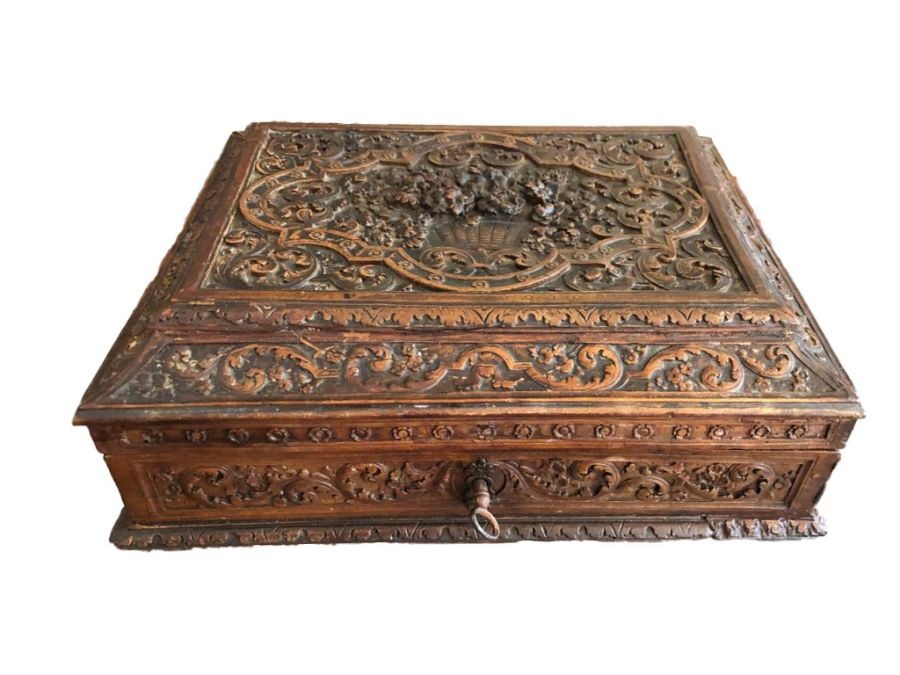 17th Century French Carved Chestnut Box