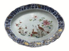 Chinese 18th Century Export Oval Platter Enamelled Decoration On Underglaze blue with Peacocks
