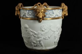 A LARGE LATE 19TH CENTURY SEVRES STYLE BISCUIT PORCELAIN JARDINIERE