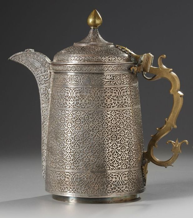 19th Century Silver Ottoman Turkish Jug With Calligraphic Inscriptions