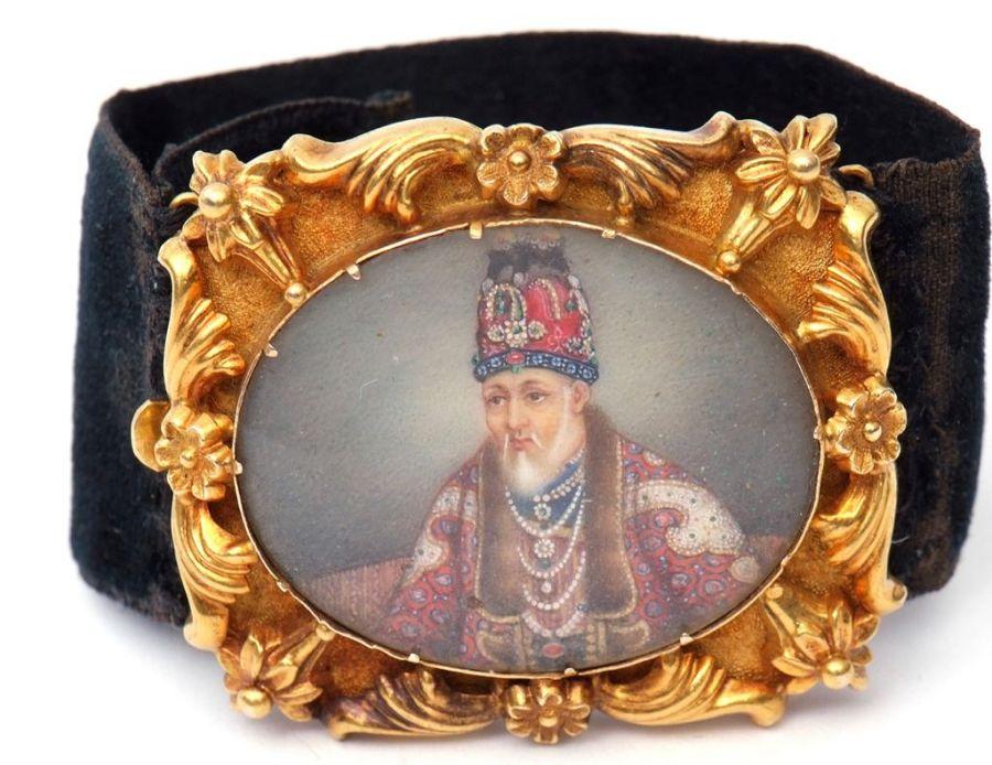 19th Century Indian Mughal Hand Painted Portrait Bracelet Of Akbar II