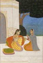 TWO LADIES SITTING UNDER A TREE, AVADH SCHOOL, NORTH INDIA, 19TH CENTURY