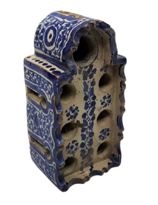 Spanish Inkwell In Shape Of Tower With Round & Oval Openings On Each Side