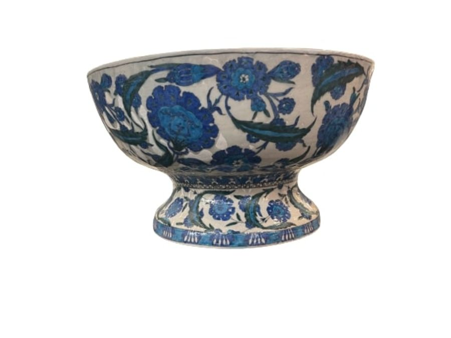 A LARGE CANTAGALLI IZNIK-STYLE POTTERY FOOTED BOWL, ITALY, 19TH CENTURY - Image 12 of 14