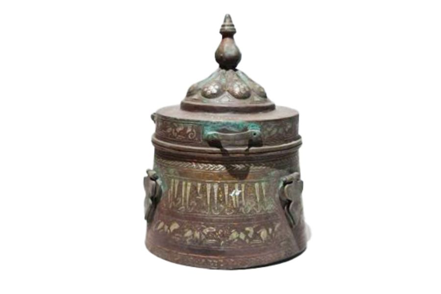 Islamic Bronze & Silver Inlay Jewellery Box