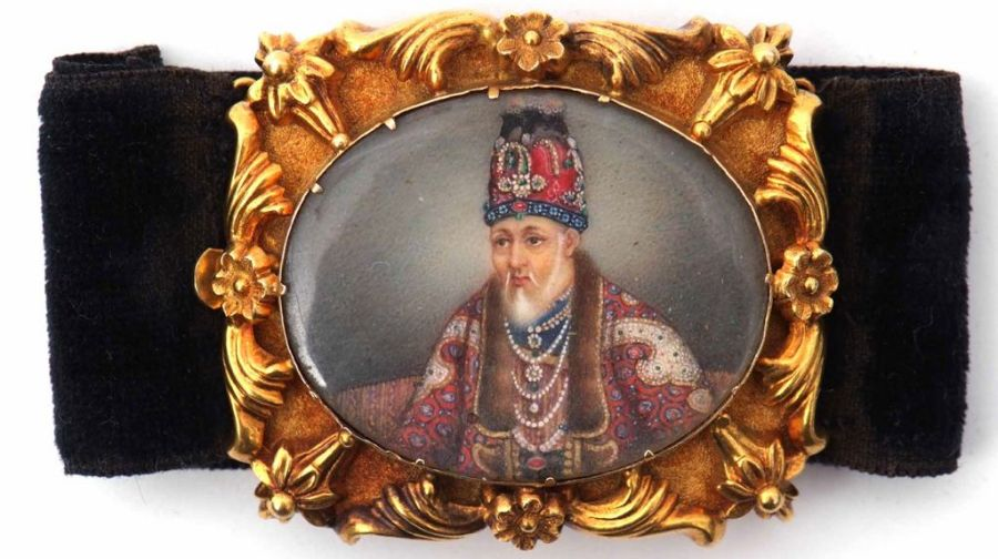 19th Century Indian Mughal Hand Painted Portrait Bracelet Of Akbar II - Image 4 of 4