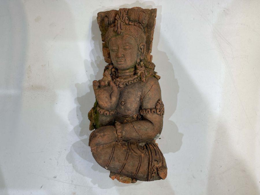 Large Indian Terracotta Buddha Figure Plaque - Image 6 of 10