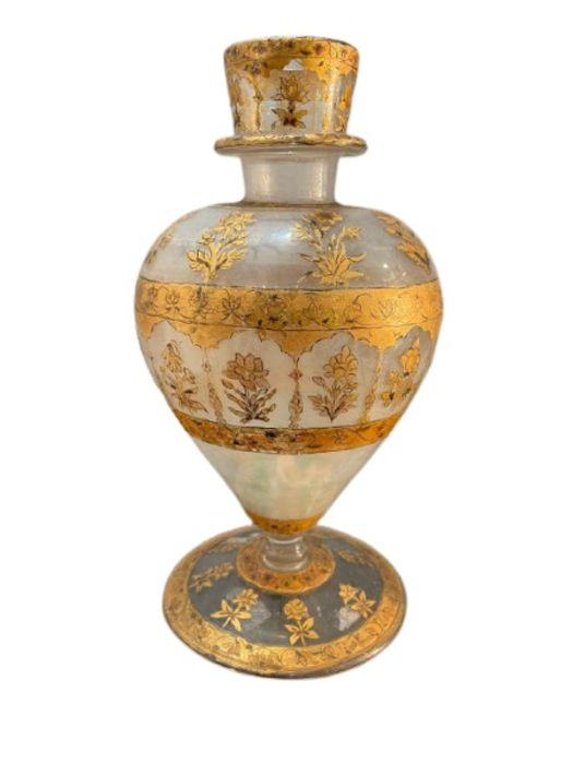 18th century Mughal glass with gold inlaid paintings and Flowers motives all pieces intact