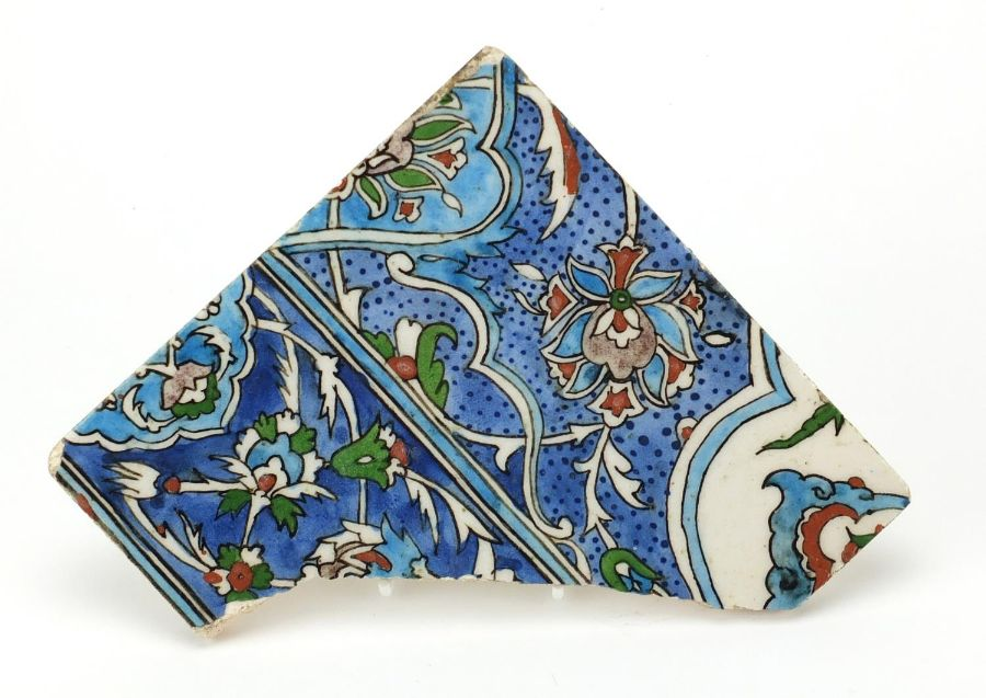 Islamic Iznik pottery tile fragment