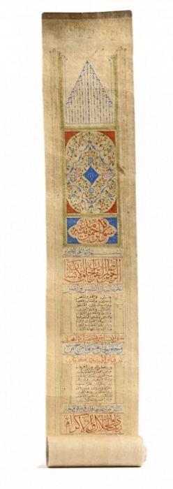FIVE CHAPTERS OF THE QURAN WRITTEN ON A PAPER SCROLL, OTTOMAN, 19TH CENTURY