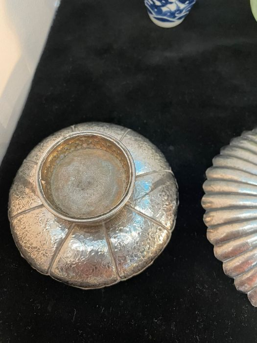 Early Chinese Tibetan Silver Dishes Golden & Silver Inlay - Image 14 of 16