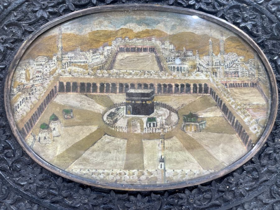 19th Century Ivorine Miniature In Indian Wooden Frames Depicting The Kaaba - Image 2 of 2