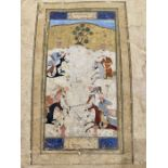 17th Century Safavid Islamic Painting With Calligraphic Inscriptions From Sahneme