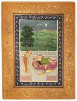 A PRINCESS RECLINING SOMKING A HUQQA, NORTH INDIA, 19TH-20TH CENTURY