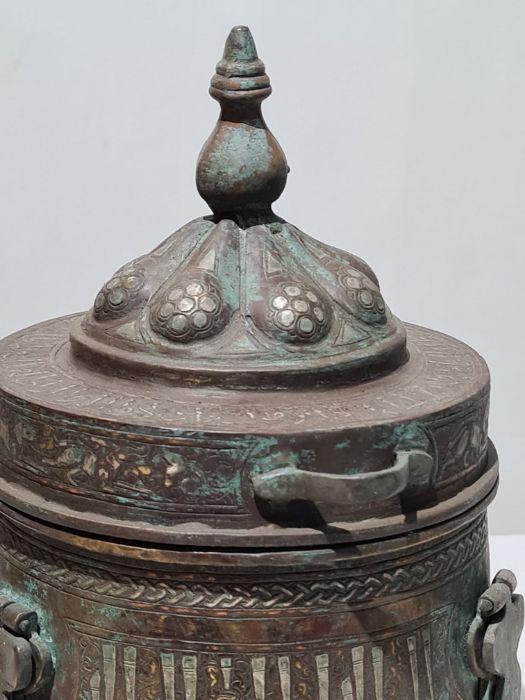 Islamic Bronze & Silver Inlay Jewellery Box - Image 4 of 7