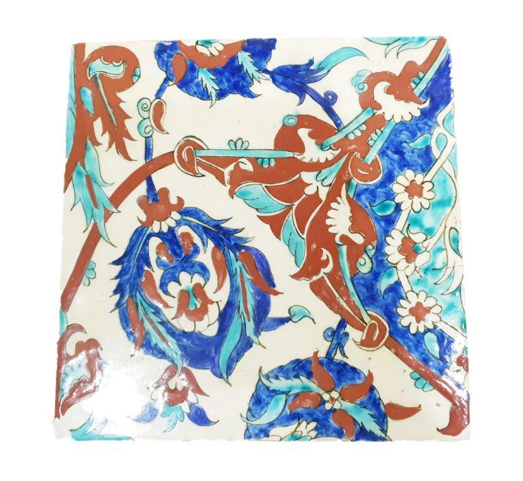 19th Century Ottoman Ceramic Tile Possibly Kuthaya