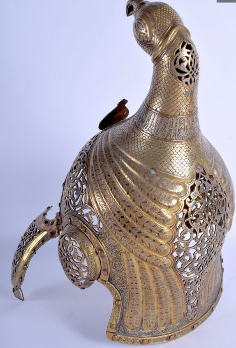 19th Century Central Asian Islamic Helmet Open Foliage & Kufic Script Calligraphic Inscriptions - Image 7 of 8