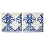 A pair of Damascus underglaze painted pottery border tiles, Syria, 17th century