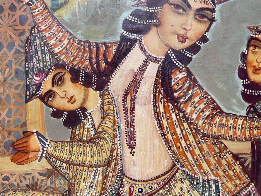 Large Hand painted late 20th century pictures of court dancers in the style of Qajar - Image 2 of 10