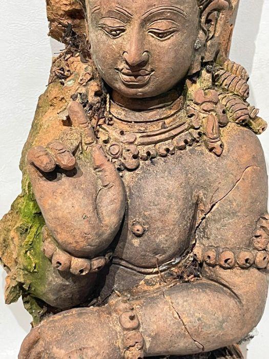 Large Indian Terracotta Buddha Figure Plaque - Image 9 of 10