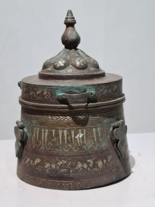 Islamic Bronze & Silver Inlay Jewellery Box - Image 7 of 7