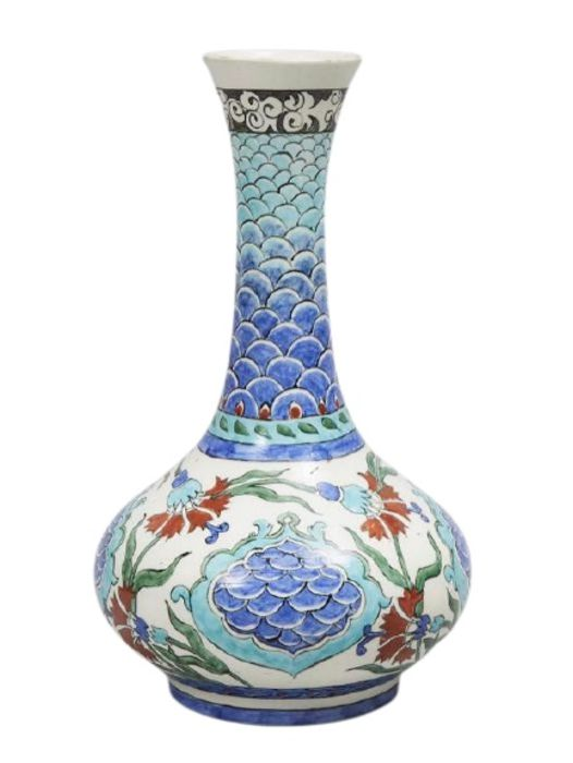 19th Century Sevres Iznik Style Vase With Floral Ottoman Motif Patterns