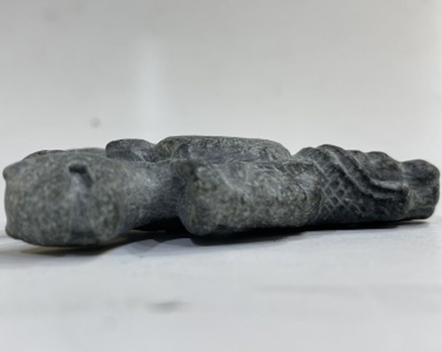 Gray schist stone magical amulet in a form of an pendant with head of a man and mythical animals - Image 2 of 3