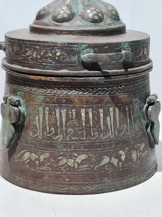 Islamic Bronze & Silver Inlay Jewellery Box - Image 3 of 7