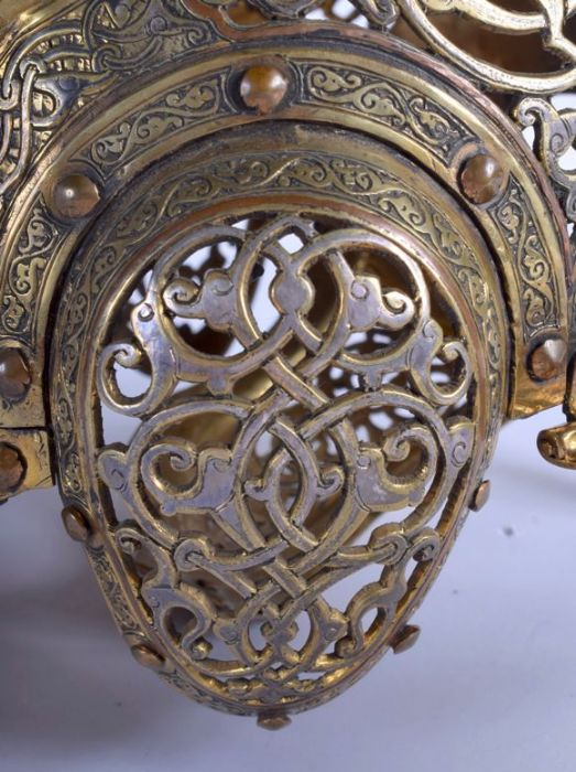 19th Century Central Asian Islamic Helmet Open Foliage & Kufic Script Calligraphic Inscriptions - Image 3 of 8