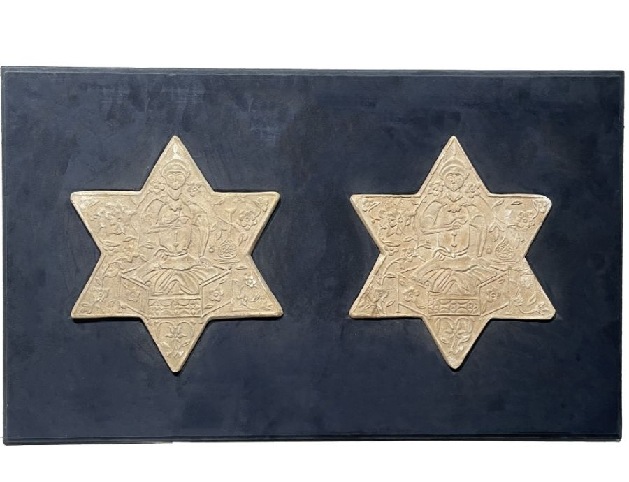 TWO UNGLAZED POTTERY STAR TILES, GHAZNAVID PERIOD, 12TH-13TH CENTURY