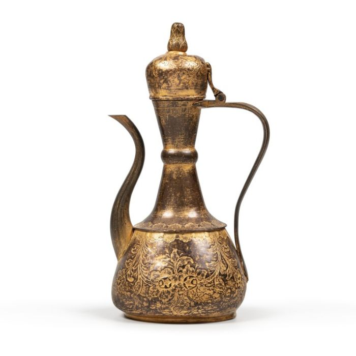 An Ottoman gilt-copper (tombak) lidded ewer, with associated basin and filter, Turkey, 18th century - Image 4 of 7