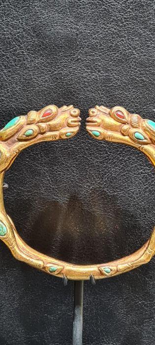 Chinese Tibetan Gold Gilt Dragon Bangle With Semi Precious Stones - Image 3 of 7