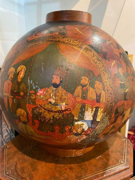 19th Century Paper mache Persian Qajar Vase Painted Scenes & Calligraphy - Image 7 of 7