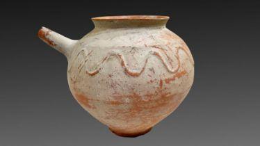 Clay water jar with serpent motive around its rim , Bactrian period 1st millennium BC