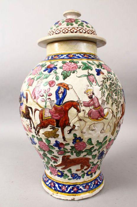 Large 18th Century Zandiyeh Pottery JAR & cover - Image 4 of 6
