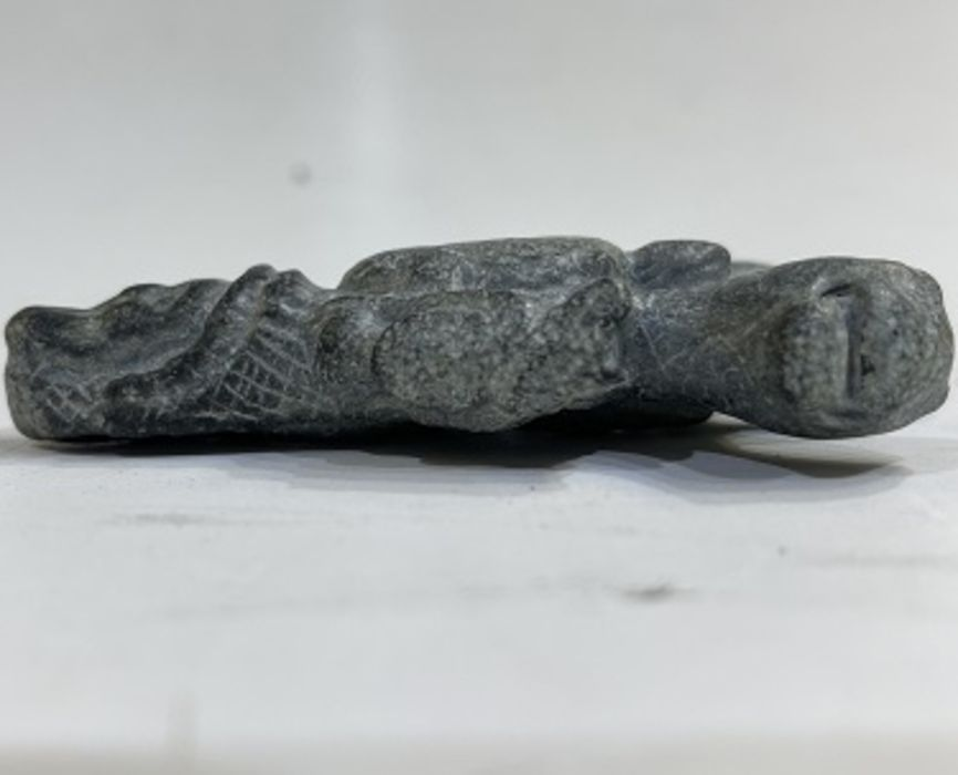 Gray schist stone magical amulet in a form of an pendant with head of a man and mythical animals - Image 3 of 3