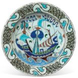 An Iznik POTTERY DISH OTTOMAN TURKEY, 19TH CENTURY
