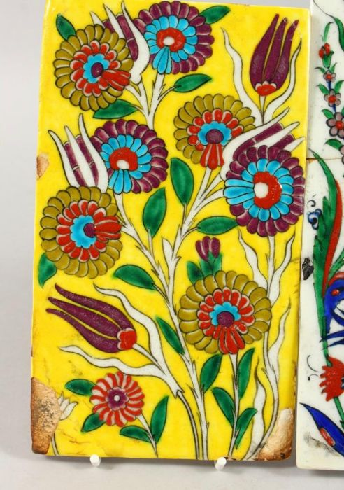 Two Turkish Ottoman Iznik Islamic Painted Pottery Tiles - Image 4 of 7
