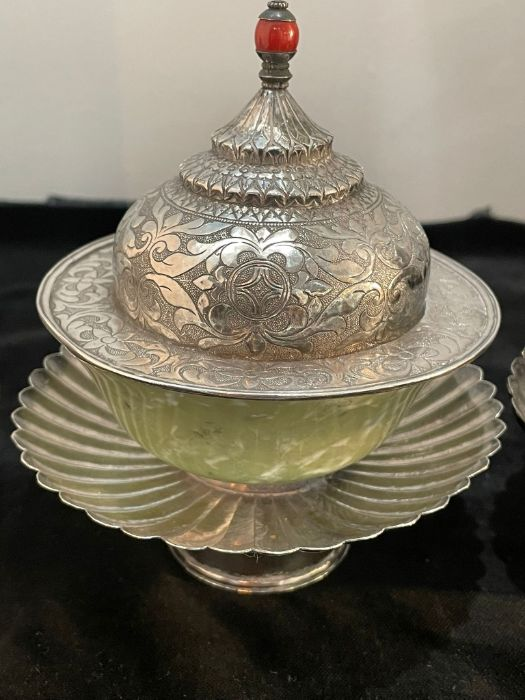 Early Chinese Tibetan Silver Dishes Golden & Silver Inlay - Image 4 of 16
