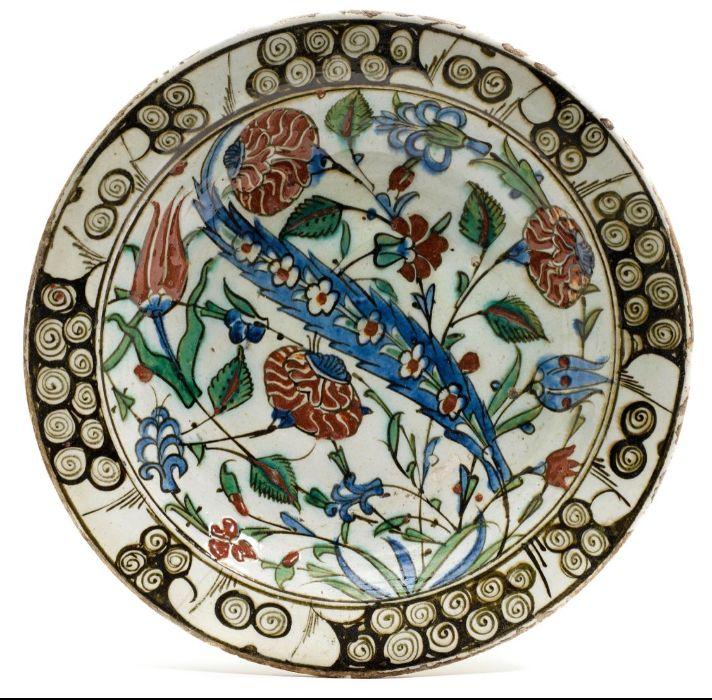 Turkish Ottoman Iznik 1620 Platter