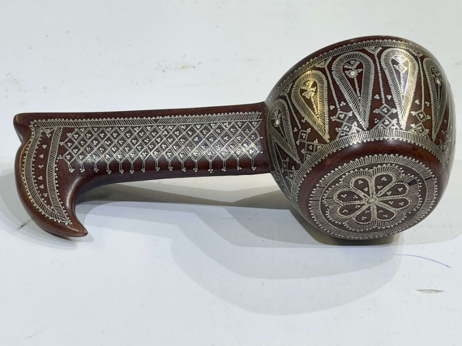 19th Century Ottoman Afyon Work Silver Inlay Sufi Dervish Spoon - Image 4 of 4